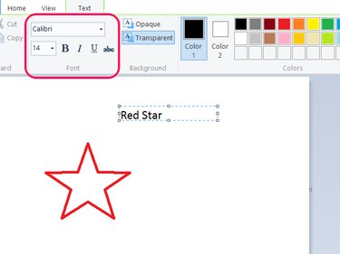 Text options in Paint.