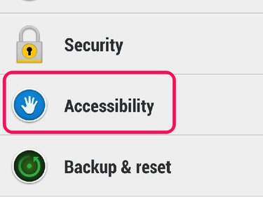 Accessibility menu in Settings