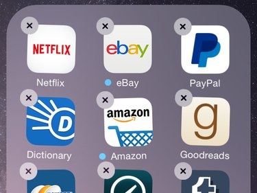 Shaking apps, ready for deletion