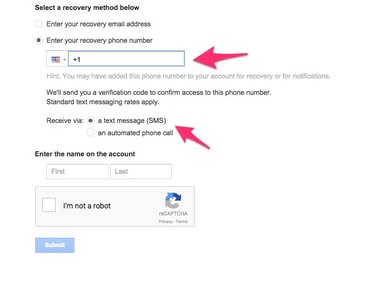 Enter your phone number and select a contact option.