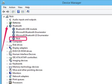 Expanding the Bluetooth node in the Device Manager.