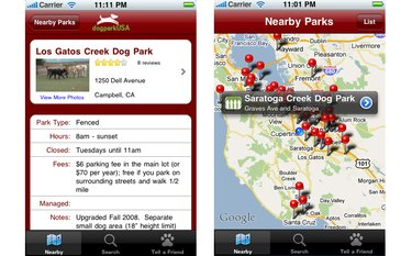 Screenshot from Dog Park Finder Plus
