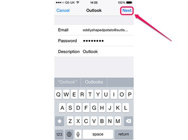 Adding an Outlook.com account to the iPhone.