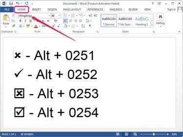 Using Alt codes to insert the symbols.