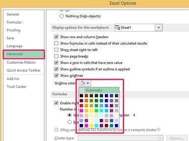 Change color grid lines in Excel