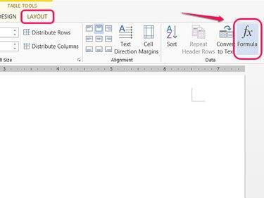 Formula button on Layout tab