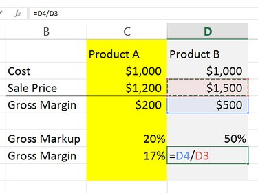 Divide margin by the sales to calculate margin percentage.