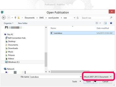 Publisher's Open menu