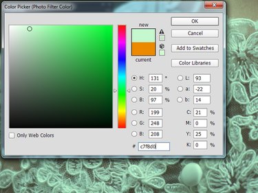 The Color Picker dialog box for a Photo Filter layer in Photoshop.