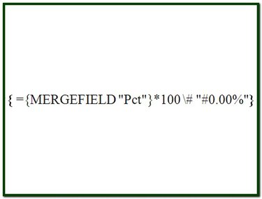 The merge field formatting code to display a percentage with two decimal places and a percent sign