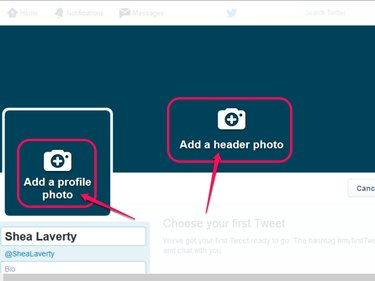 Twitter profile editor, with the add a profile photo and header photo buttons highlighted.