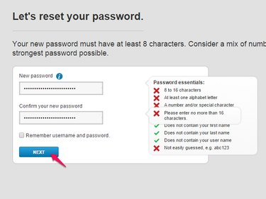 New password after resetting