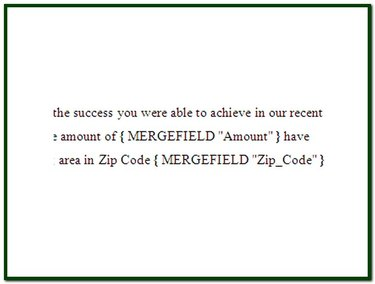 Examples of merge field codes with no formatting applied.