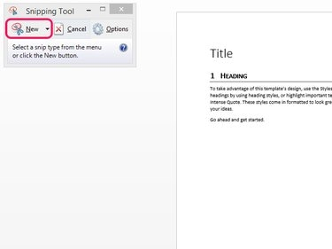 Snipping Tool window with New button highlighted.