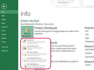 Protect Workbook options.