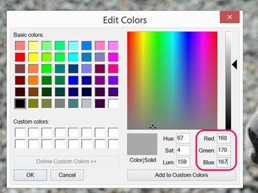 Select a color to paint over the text.