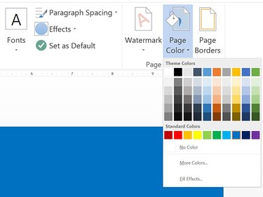 Selecting a blue background color.