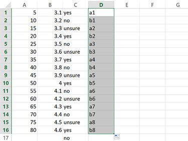 Excel extends a series of numbers, but only repeats letters.