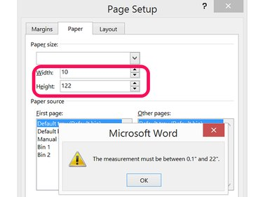 Page Setup's Paper tab