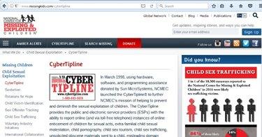 Screenshot of Cyber Tipline