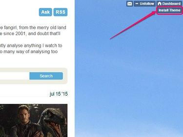 "The ""Install Theme"" button on a Tumblr blog."