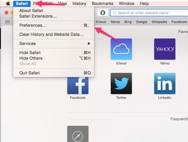 Choose Preferences in the Safari menu.