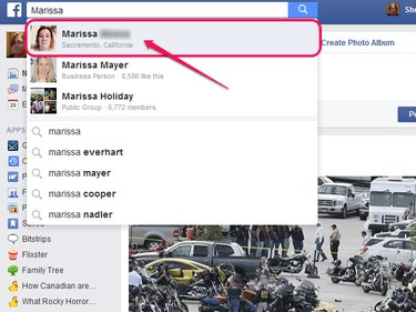 Facebook search, with the desired friend highlighted.