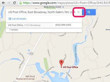 Click the X to remove the marker, in this case showing the Salem, NH, Post Office.