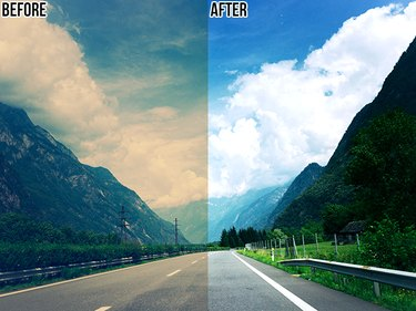 A comparison of a photo before and after being adjusted with the eyedropper tools in Photoshop.