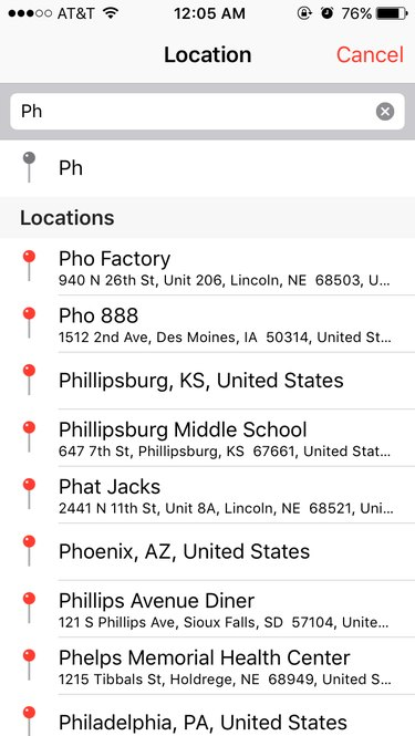 """Screen capture of """"ph"""" being typed into calendar location box."""