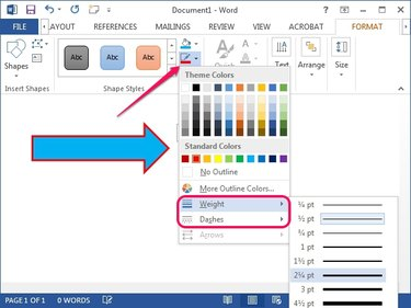 The Shape Outline menu in Word 2013.