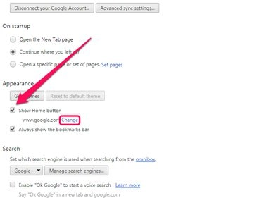Chrome Options page with Show Home Button enabled and Change link highlighted.