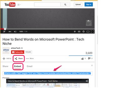 Copy the YouTube embed code.