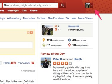 Yelp home page