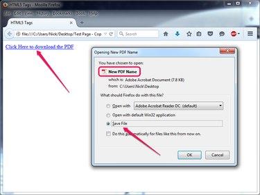 Test the new hyperlink in Firefox.