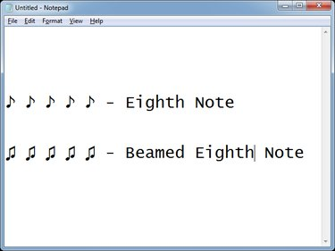 Inserting some music notes in Notepad.