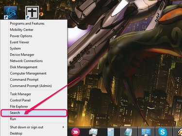 The Power User menu, with Search highlighted.