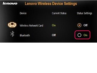 Lenovo Wireless Device Settings.