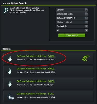 Find the correct Nvidia driver