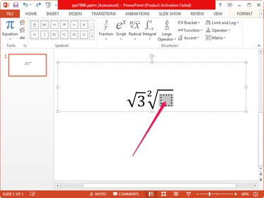 Type the square root in PowerPoint.