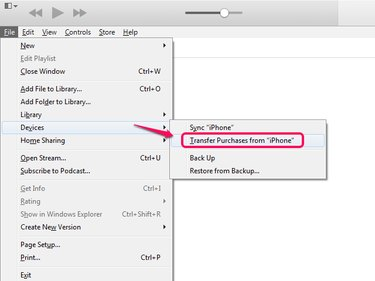 Transfer purchases in iTunes