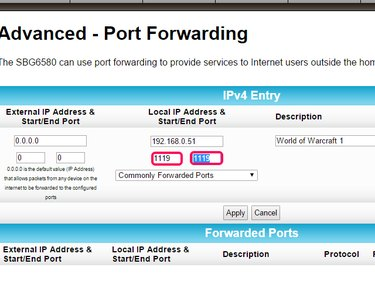 Enter the port numbers in the Start and End port fields.