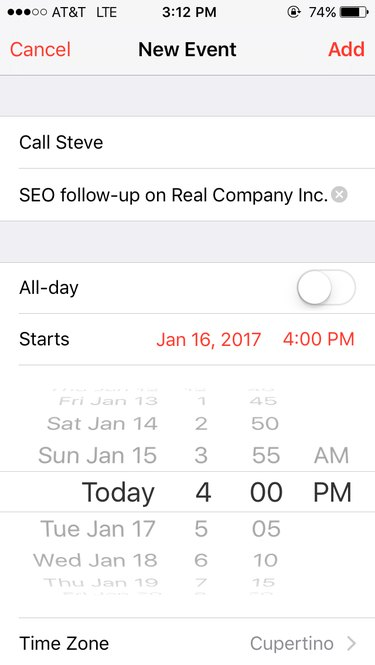 Screen capture of new event on iPhone calendar.