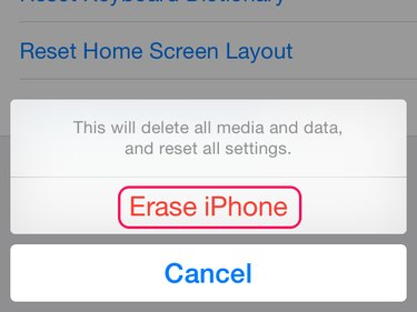 Final Erase iPhone prompt