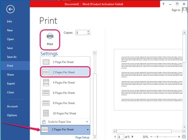 Selecting to print two pages per sheet.