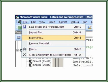 Choose Export File to save the macro as a .BAS file.