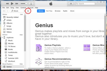 Main screen of iTunes program with phone icon circled in red