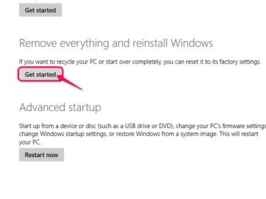 The Recovery Menu, with Get Started highlighted under Remove Everything and Reinstall Windows.