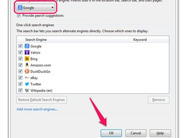 Search Options window in Firefox, with Google selected from the Default Search Engine menu and OK button highlighted.