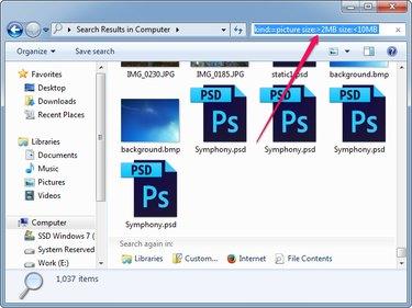 Specifying the minimum and maximum file size.